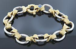 Two Tone Twisted Link Bracelet in 18K