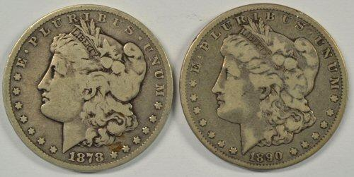 Scarce 1878-CC & 1890-CC Morgan Silver Dollars