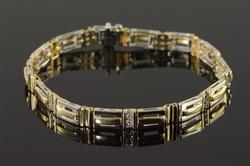 14K Yellow Gold Diamond Bar Link Tennis Bracelet