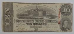 1863 $10.00 Confederate States Of America Currency