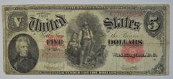 1907 $5.00 Woodchopper United States Note, Circulated