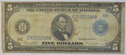 1914 $5.00 Blue Seal Federal Reserve Note