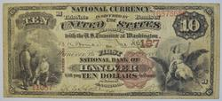 1882 $10.00 Charter #: 187 National Bank Of Hanover Large Size Note