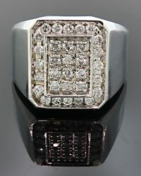 Gents Diamond Cluster Ring with 1+ctw