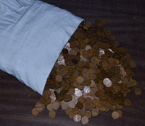 Giant Cloth Bag with 5000 Oldtime Lincoln 'Wheat' Cent