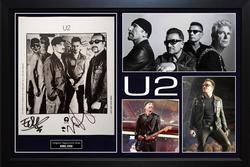 Bono U2 Edge Autographed Signed 8x10 Photo Custom Display