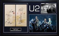 U2 Full Autographed Signed Program Custom Display AFTAL