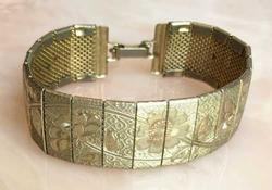 Lovely, Etched Floral, Gold Tone, Banded Bracelet