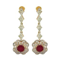 5+ctw Ruby & Diamond Pair of Earrings in 14kt Gold