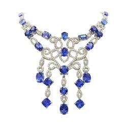 Impressive 59ctw Tanzanite & Diamond Necklace, 14kt