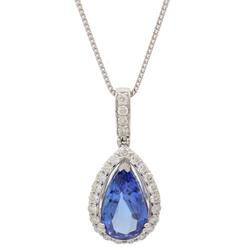 Platinum Tanzanite and Diamond Necklace