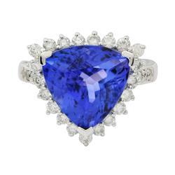 A Dazzling 5.88ctw. Tanzanite & Diamond Ring