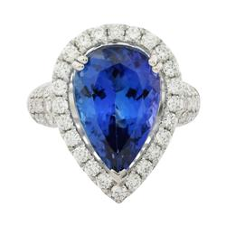 6.91ctw. Tanzanite and Diamond Ring
