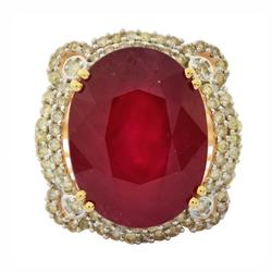14kt Gold 14+ctw Ruby & Diamond Ring, Impressive!
