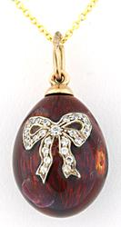 Enamel Egg Pendant with Diamonds