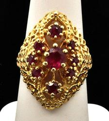 Antique 14kt Gold Filigree Ruby Ring