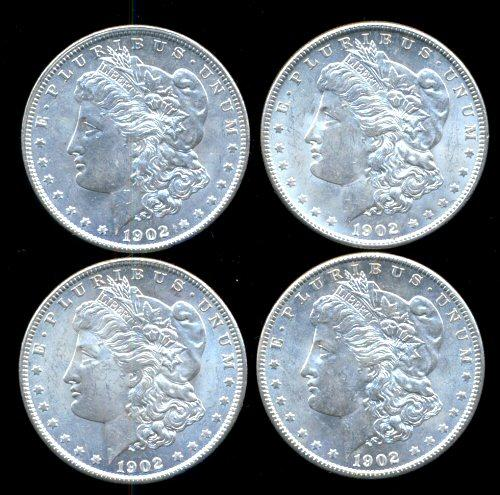 4 BU 1902-O Morgan Silver Dollars from original roll