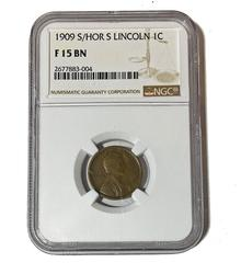 1909 S over Horizontal S Lincoln Cent NGC F Brown