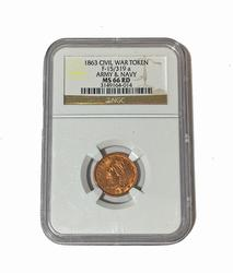1863 Army Navy Civil War Token F -15/319 a NGC MS 66 Red