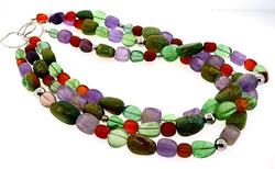Multi Gemstone 3 Strand Necklace