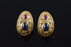 14K Gold Sapphire Ruby Diamond Earrings
