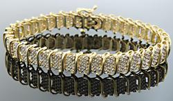 3 CARAT DIAMOND S LINK BRACELET, 10KT GOLD
