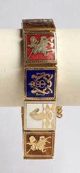 Amazing, Heraldic Symbols Lions, Knights, Enamel Linked Bracelet