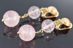 Beautiful Rose Quartz Bead Drop Style Earrings