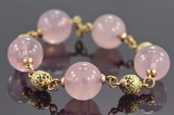 Rose Gold Rose Quartz & Gold Bead Bracelet