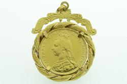 British Victoria Coin Pendant in 14kt Gold