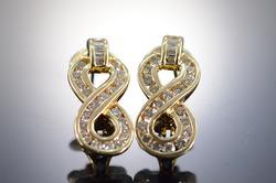Round Baguette Diamond Earrings