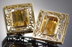 Impressive 8ctw Citrine Earrings in 14kt Gold
