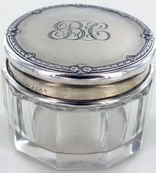 STERLING AND CRYSTAL VANITY JAR