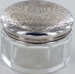 STERLING AND CRYSTAL VANITY JAR