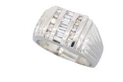 14K White Gold Mens .86CTW Diamond Ring