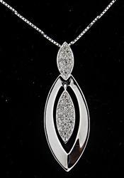 Pave Diamond Marquise Shape Pendant Necklace