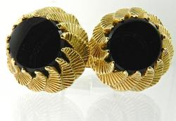 Excellent 14kt Gold Black Onyx Cufflinks