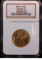 Certified US Gold $10 Liberty 1894 MS 63 NGC