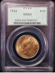 Certified US Gold $10 Indian 1932 MS 63 PCGS
