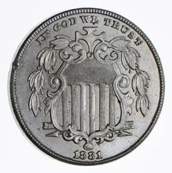Brilliant! - 1881 Shield Nickel - Rare - Choice Coin