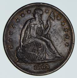 Rare 1863 Seated Liberty Silver Dollar