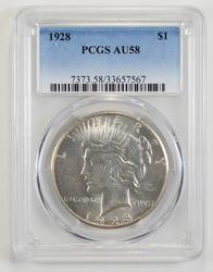 1928 Peace Silver Dollar Key Date AU58 - PCGS