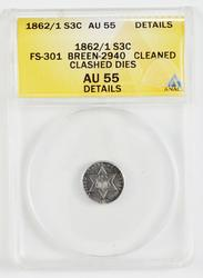 AU55 1962 Silver Three-Cent Piece Clashed Dies