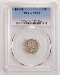 1942/1 Mercury Silver Dime - PCGS Graded