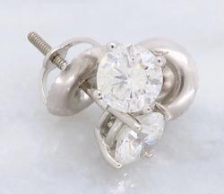 Brilliant Cut Diamond Pair of Stud Earrings