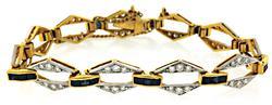 4.0 CTW Diamond & Sapphire Two Tone Bracelet in 18K