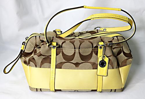 Coach Canvas and Leather with Yellow Accent Bag