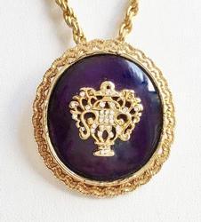 Elegant, Cobalt Blue Glass & Floral Basket Pendant Necklace