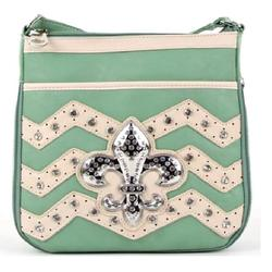 Fashinable Mint 'Fleur De Lys' Messenger Bag