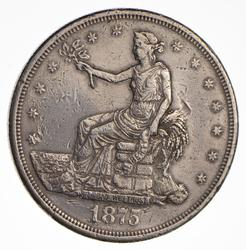 1875-CC Seated Liberty Silver Trade Dollar, Circulated